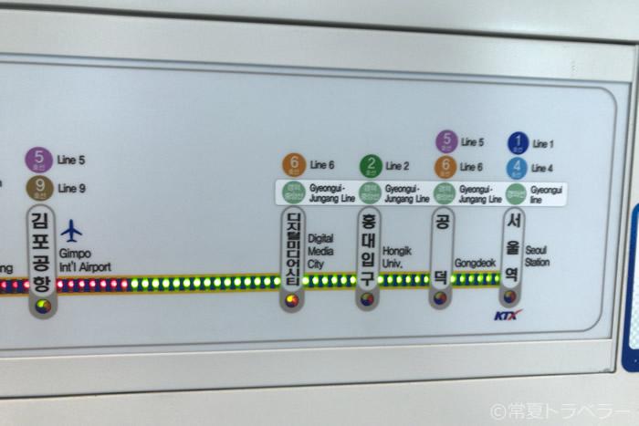 空港鉄道A'REX車内路線図